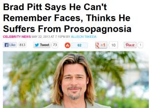 Gezichtsblindheid prosopagnosia  aspiratiecoach Brad Pitt